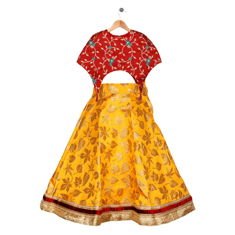 Girls Ethnic wear set - Maroon/Yellow