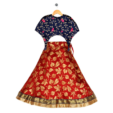 Girls Ethnic wear set - Navy/Maroon
