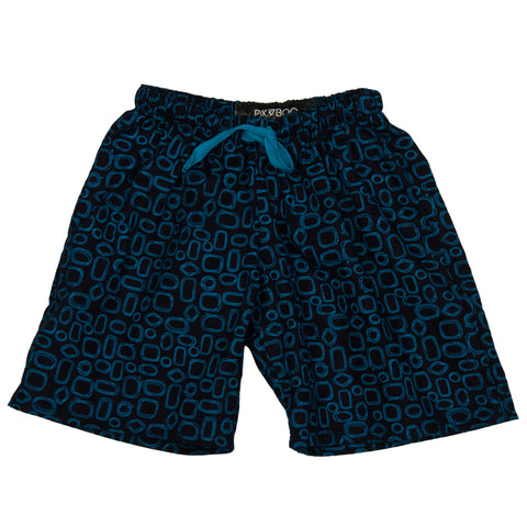 Blue base printed woven girls shorts