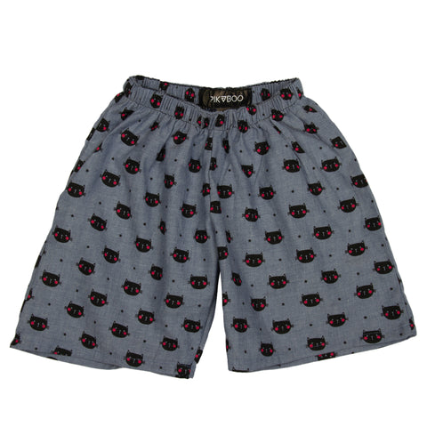 Chambray Cat Printed woven girls shorts
