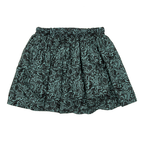 Green base printed skirt