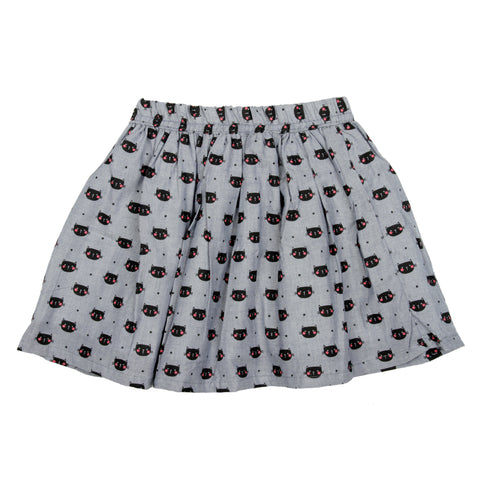 Chambray cat printed skirt