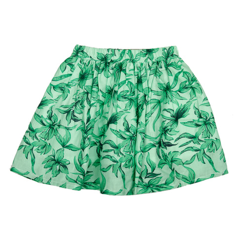 Green floral printed skirt
