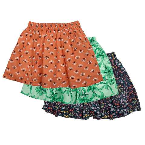 3 Pack printed skirt - Green, Orange & Blue