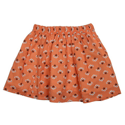 Orange base floral printed skirt