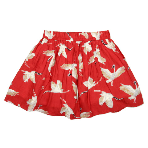 Red base bird printed skirt