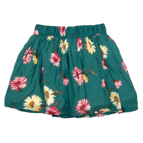 Green base flower printed skirt