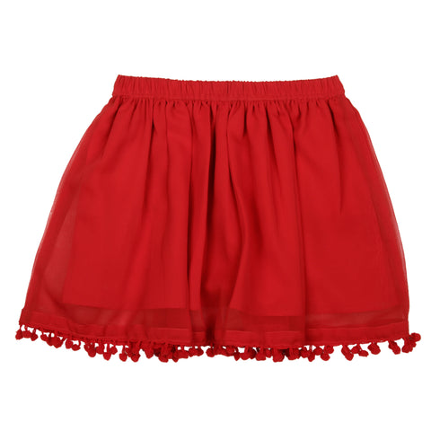 Solid georgette Skirt - Red
