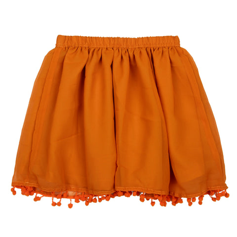Solid georgette Skirt - Orange