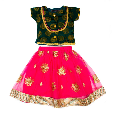 Embroidered Net Lehenga with brocade top - Green & Pink