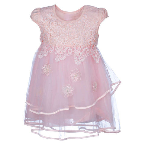FINE LACE DRESS - BABY PINK