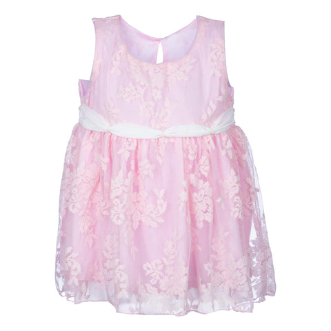 FINE STITCH SLEEVELESS DRESS - BABY PINK