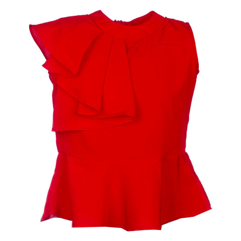 FLAMING RED PEPLUM TOP