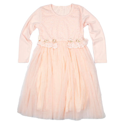FULL SLEEVE ROSE EMBROIDERED DRESS - PEACH