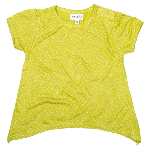 Green base printed girls top