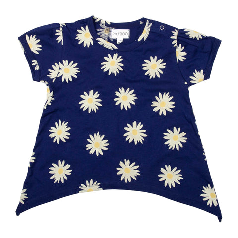 Navy base flower printed girls top