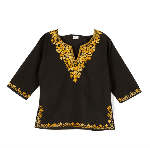Black Full Sleeves Kurti with Yellow Embroidery