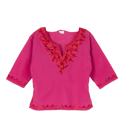 Fuchsia Full Sleeves Kurti with Red Embroidery