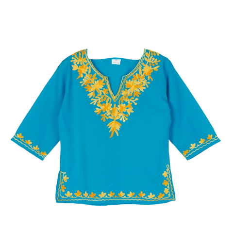 Blue Full Sleeves Kurti with Yellow Green Embroidery