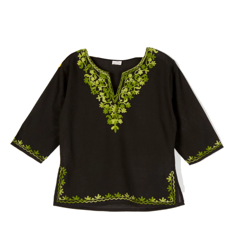 Black Full Sleeves Kurti with Green Embroidery