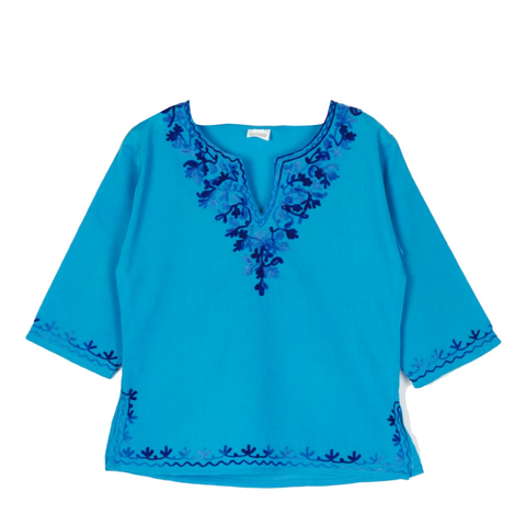 Blue Full Sleeves Kurti with Dark Blue Embroidery