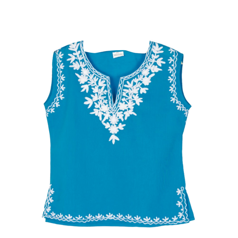 Blue Sleevless Kurti with White Embroidery