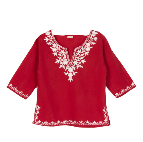 Red Full Sleeves Kurti with White Embroidery