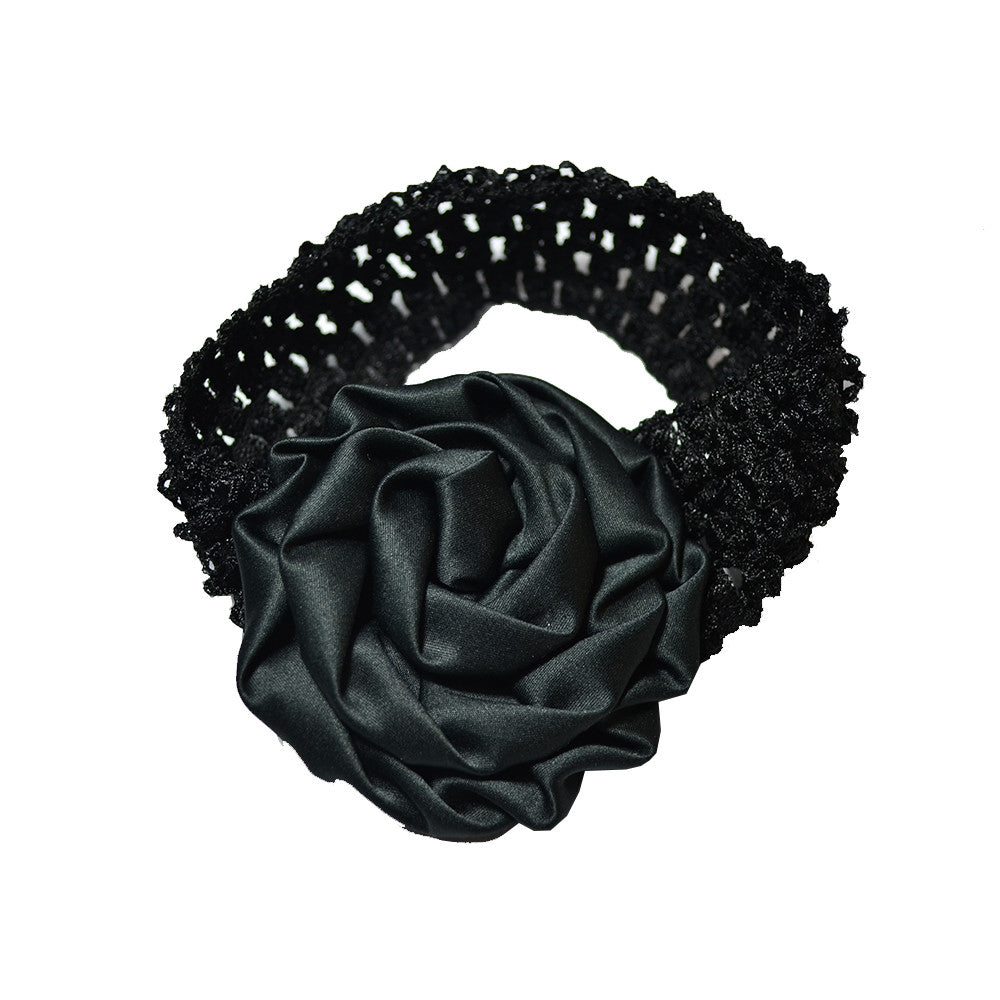 Rolled up Rose on crochet - Black