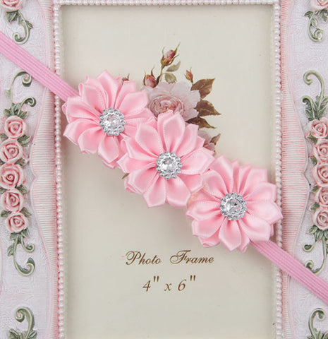 Triple crystal flower - baby pink