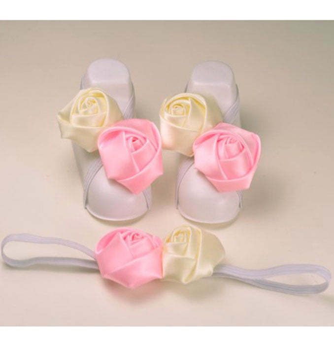 Pikaboo infant Roses slip on shoes headband combo- baby pink