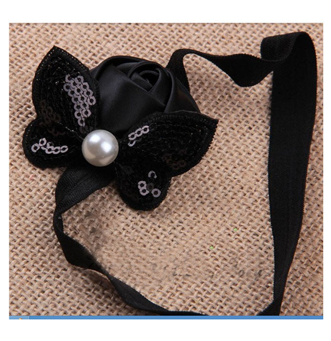 Sequin Bow with Rose Flower Headband - Black