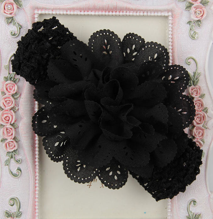 Crochet cutwork flower headband - black