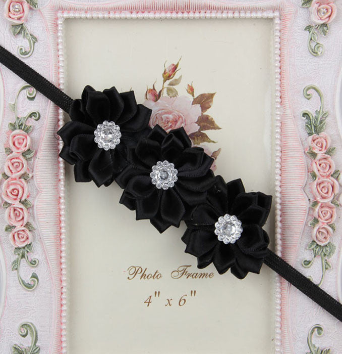 Triple crystal flower - black