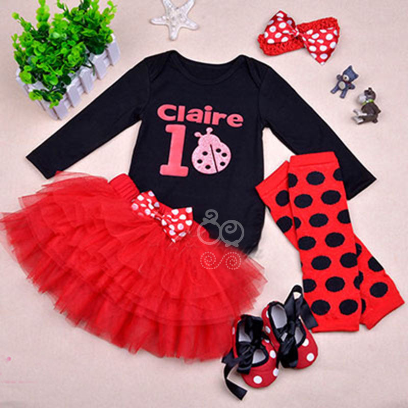 Lady bug pattern skirt top set with shoes, headband and legwarmers