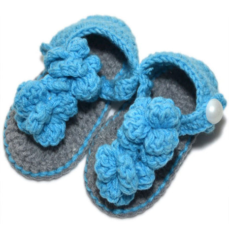 Crochet Baby Shoes Blue Grey