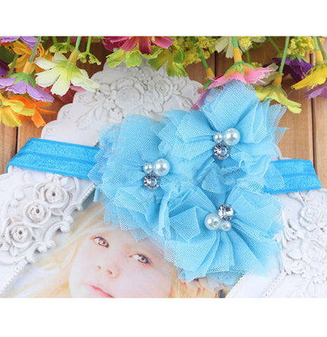 Triple Tulle Bling Headband - Blue