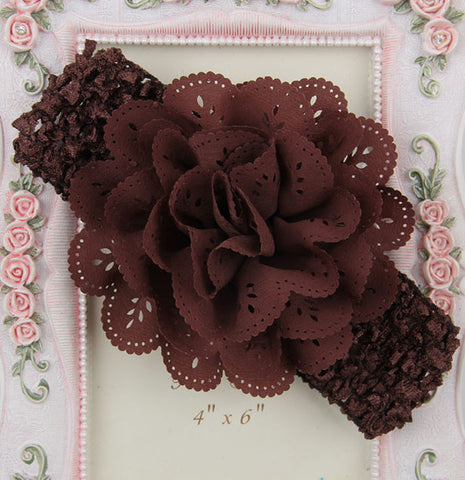 Crochet cutwork flower headband - brown