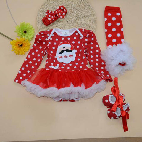 Christmas tutu romper with shoes, legwarmers and headband (0-1 year)