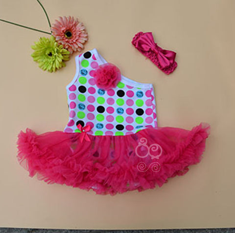 Colorful one shoulder tutu romper