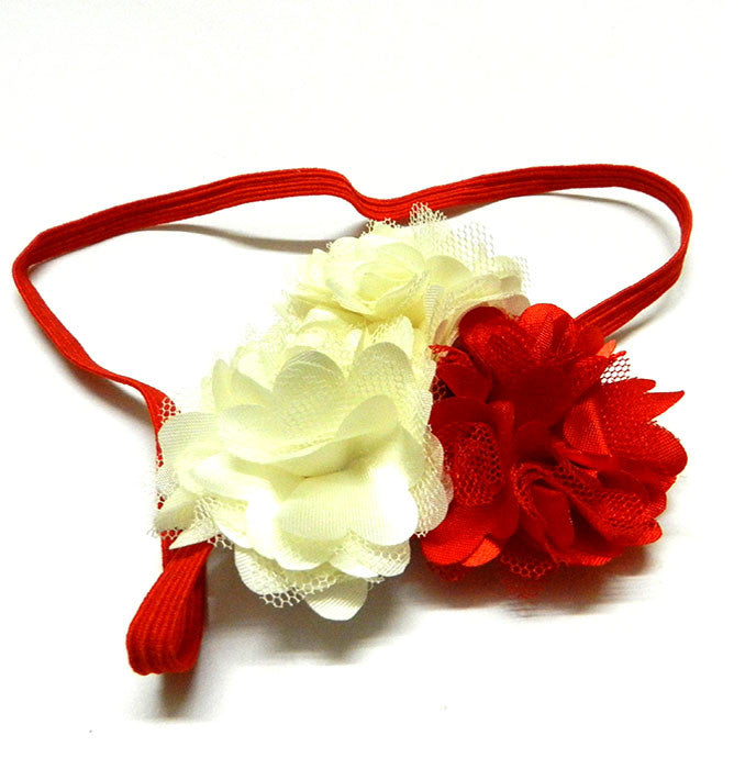 Three pretty flowers headband creamnred