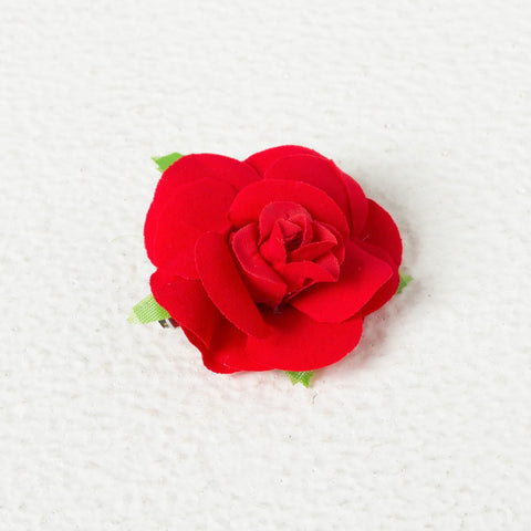 Velvet Rose Clip - Red