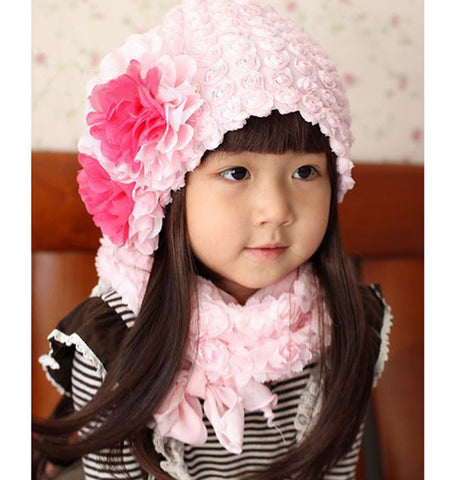Hot Pink chiffon flower cap for girls