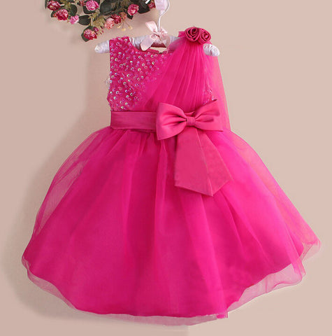 Princess bowknot sequined dress party pink