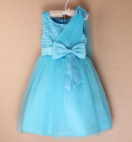 Princess bowknot sequined dress Princess Blue