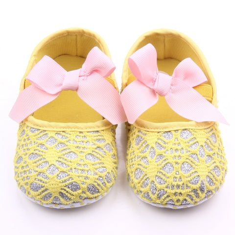 Glitters and Lace Shoes - Yellow