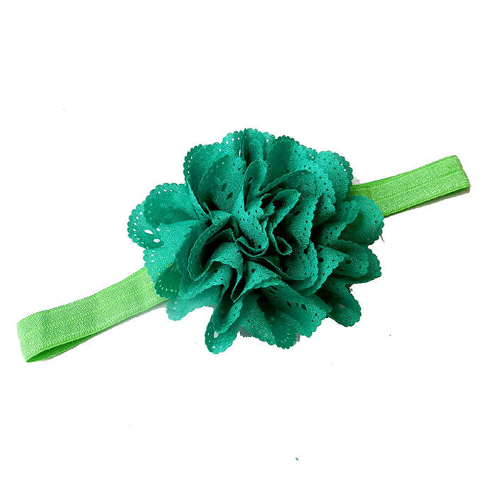 Cut Work Big Flower Headband - Green