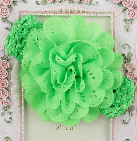 Crochet cutwork flower headband - Green