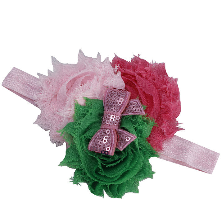 Three Color Blossoms headband - Green Pink