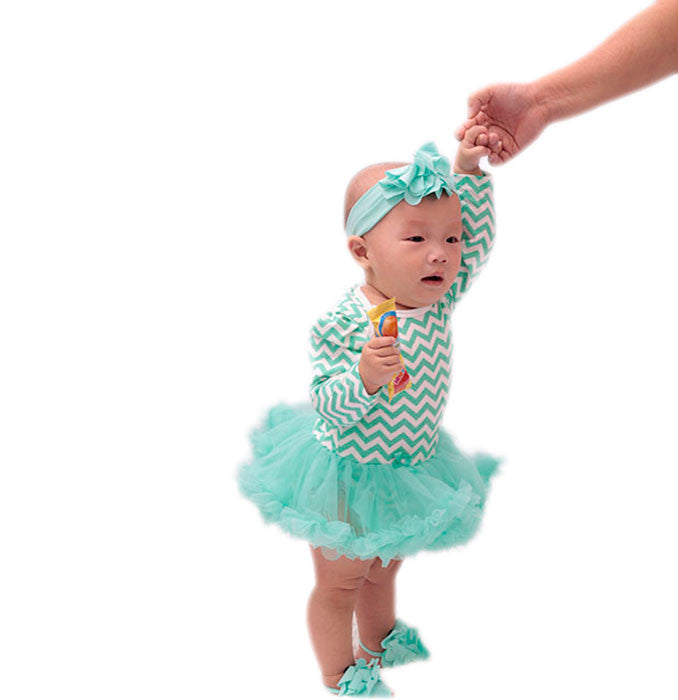 Green chevron Romper Dress with headband and barefoot sandals(0-1 year)