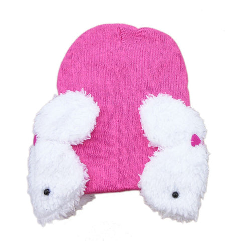 Hot Pink rabbit baby cap (6 - 24 months)